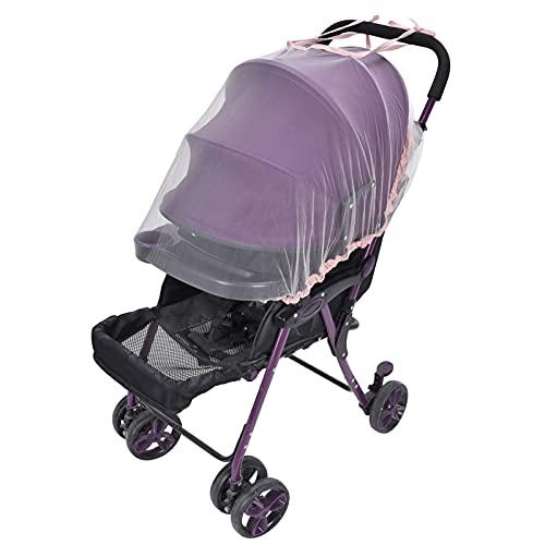 FASJ Mosquitera para bebé, portátil, Suave, Transpirable, Ajustable, para Cochecito de bebé, mosquitera para Exteriores, para el hogar, para Viajes, para Cochecito de bebé(Pink)
