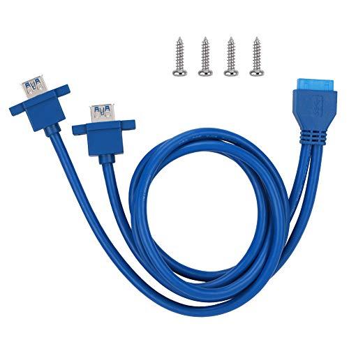 Zer one 19 Polige / 20 Polige Buchsenleiste für Dual USB3.0 A Kabel zur Frontplattenmontage mit Schraubloch(0,8 m)