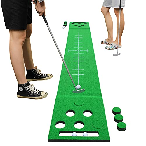 2-FNS Golf Putting Game Set, Golf Putting Green Game Set Practice Putting Mat with 4 Golf Balls,Golf Training Mat for Indoor Outdoor