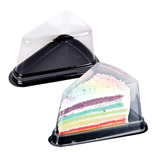 100Pcs Clear Cake Slice Box with Black Base to-Go Cheesecake Pie Dessert Containers for Christmas Handmade Bakery Birthday Wedding Party Favor Triangle