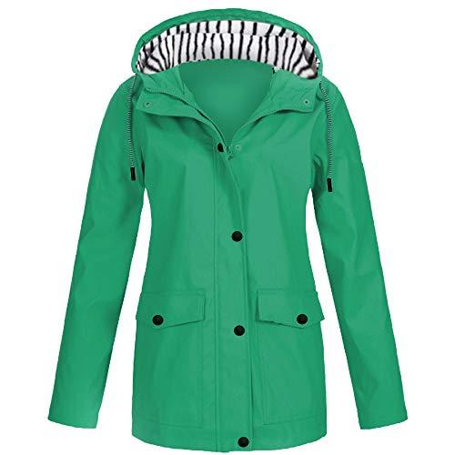 iHENGH Damen Frühling Herbst Bequem Mantel Lässig Mode Jacke Frauen Feste Regenjacke im Freien Plus wasserdichter mit Kapuze Regenmantel Winddicht