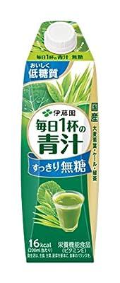 伊藤園 毎日1杯の青汁 すっきり無糖 キャップ付 屋根型紙パック 1L ×6本