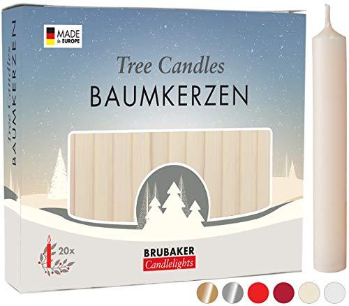 Brubaker 20er Pack Baumkerzen Wachs - Weihnachtskerzen Pyramidenkerzen Christbaumkerzen - Champagner
