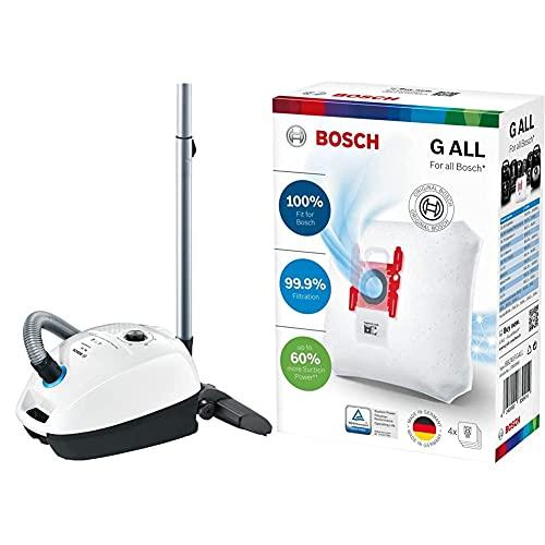Bosch Hogar ProHygienic Aspirador con Bolsa, 600 W, 4 litros, 77 Decibelios, Kunststoff, Blanco/Azul metálico + BBZ41FGALL Bolsas PowerProtect Bolsas para Aspirador Tipo G All