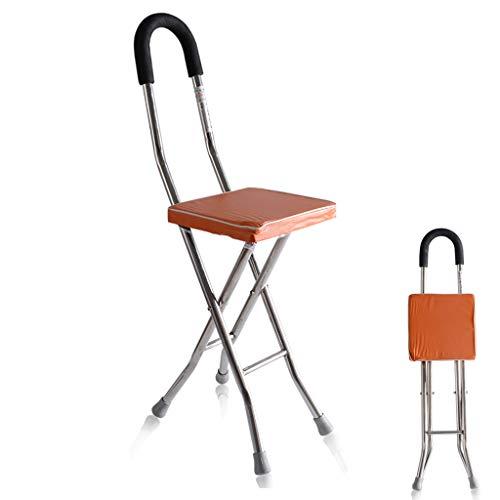 Opvouwbare oudere verpleging kruk, 2-in-1 RVS kruk + krukje voor tweeërlei gebruik, geschikt voor ouderen met een handicap lopen, vierpoots krukwandelaar