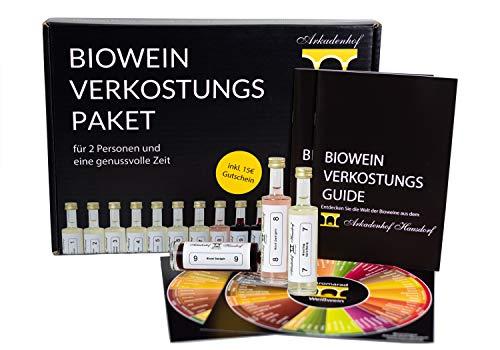 Biowein Verkostungs Paket | Mini Wein Tasting Set (10x 50ml) | Weinprobe Set: vegan bio trocken | Ideal als Wein Geschenkset | 7x Weißwein 3x Rotwein inkl. Aromarad und Verkostungs-Guide