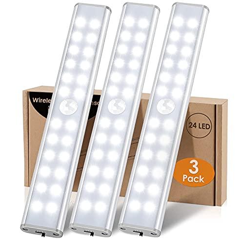 LED Armario 24 LED Luz Sensor Movimiento Interior LED Luces Armario Sensor...