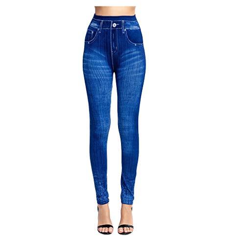 bobo4818 Hight Waist Damen Stretch Röhren-Jeans-Hose Hochschnitt in blau mit Waschung Boyfriend Knopfleiste (M, Blue)