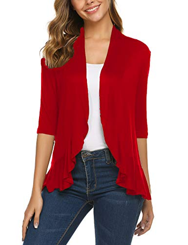 Zeagoo Women's 3/4 Sleeve Cropped Cardigans Sweaters Jackets Open Front Short Shrugs for Dresses Red L