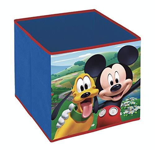 Superdiver Cubo Organizador Plegable de Tela Disney Mickey Mouse para Niño - Caja de Almacenaje para Juguetes Compatible con Kallax de IKEA para Dormitorio Infantil 31x31x31cm