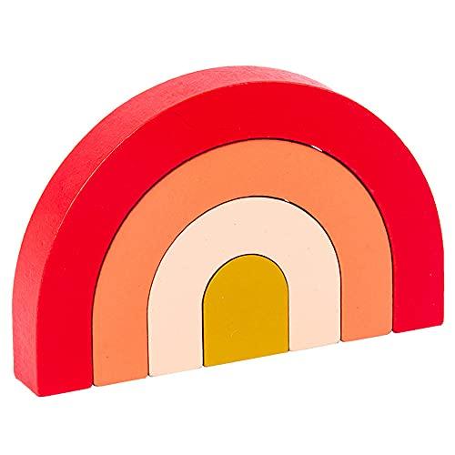 Raybre Art Juguetes de apilamiento de Arco Iris de Madera para niños Conjunto de Bloques de construcción de anidación de Juguetes educativos