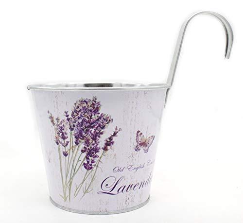 DARO DEKO Metall Hängetopf - Ø 15cm x 13cm Lavendel und Schmetterling 1 Stück