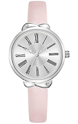 KDM Uhren Damen Einfache Damen Analog Quarz Armbanduhr mit Leder Armband wasserdichte Quarzuhr für Damen Mädchen