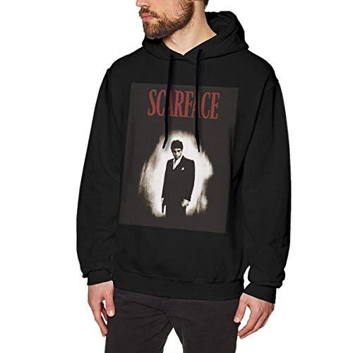 DDECD Herren Hoodie Kapuzenpullover Rebeccarcarter Personalized Scarface Men's Cotton Graphic Hoody Black Long Sleeve Sweatshirt