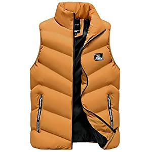 LittleKK ダウンベスト メンズ 中綿ベスト 軽量 防寒 立ち襟 無地 暖かい ジャケット ベスト M-4XL 5色展開 6708 (L, イエロー)