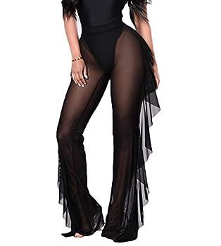 FAROOT Women s See Through Sheer Mesh Ruffle Swimsuit Beach Bottom Cover up Pants High Waist Wide Leg Trousers  Black L