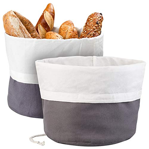 Rosenstein & Söhne Brotkasten: 2er-Set XL-Brotkorb aus Baumwolle, verschließbare Kordel, Ø 25 cm (Brot-Box)