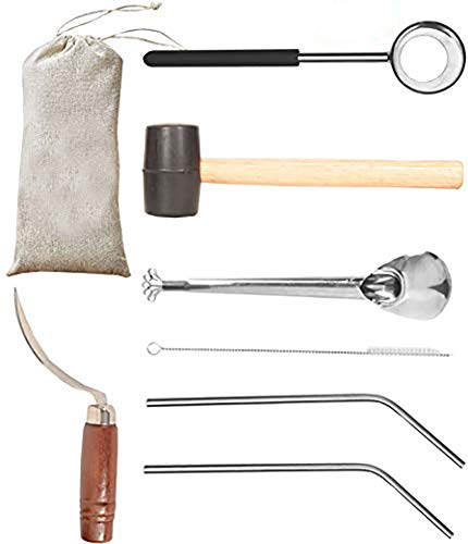 Coconut Opener  Coconut Opener Kit with Hammer Stainless Steel Opening Utensil Premium Wooden Handle  Coconut spoon  Drinking Straws  Straw Cleaner  Opener Tool Set with a Carry Bag (7pcs)