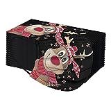 Donasty 100 Stück Erwachsene Mundschutz mit Motiv Weihnachten Bunt MNS Weihnachtsmaske Mund und Nasenschutz Weihnachtsmann Motiv Maske Tücher Atmungsaktiv Mund-Tuch Bandana Halstuch Schals