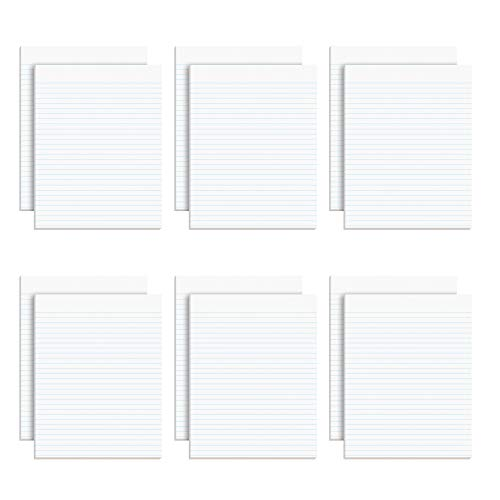 Ampad Evidence Glue Top 8-1/2 x 11 Pads, Wide Rule, White, 50 Sheets Per Pad, 12 Pack (21-112)