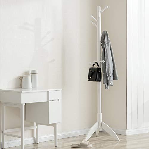 TinyTimes Garderobenständer, Kleiderständer, Garderobe, Mutiger Hauptpol, Holz, Stabil, 11 Haken, Gummiholz, Vintage (Weiß)
