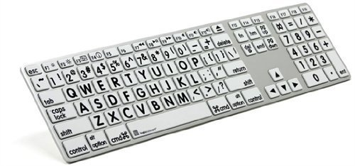 Logickeyboard Large Print Apple black on white keyboard compatible with Mac Os X v10 or later- LKBU-LPRNTBW-AM89-US