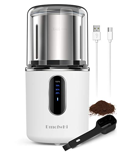 DmofwHi Cordless Coffee Grinder Electric, Type-C Rechargeable,200W Electric Spice Grinder with Stainless Detachable Bowl, Battery Coffee Bean Grinder for Nuts, Grains, and,75g /12 Cups-White