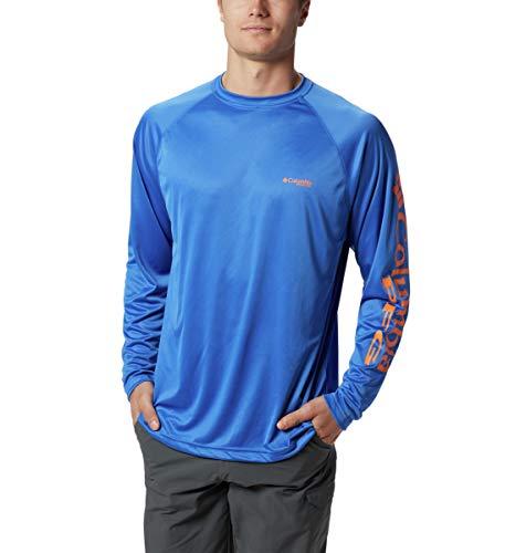 Columbia PFG Terminal Tackle™ - Camiseta de Manga Larga para Hombre, Color Azul Vivo, Logotipo de Júpiter, tamaño Mediano