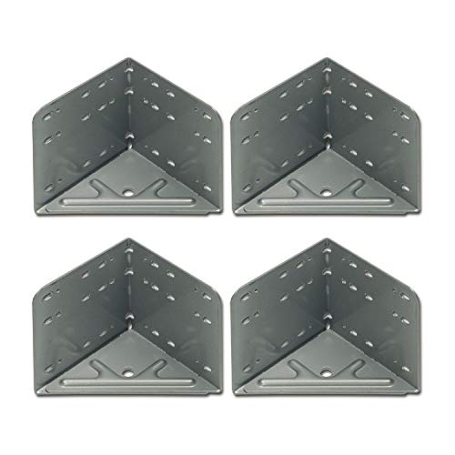 SECOTEC Bettwinkel Eckverbinder Stahl Winkel silbergrau, Maß: 115 x 115 x 133 mm, 4 Stück