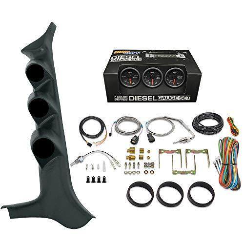 GlowShift Diesel Gauge Package for 1992-1997 Ford F-Series F-250 F-350 7.3L Power Stroke - Black 7 Color 60 PSI Boost, 2400 F Pyrometer EGT & Transmission Temp Gauges - Black Triple Pillar Pod