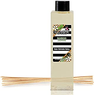 LOVSPA Bamboo Jasmine Reed Diffuser Refill Oil with Replacement Reed Sticks - A Green Fragrance of Wild Bamboo, Black Currant, Green Palm & White Jasmine, 4 oz - Made in The USA