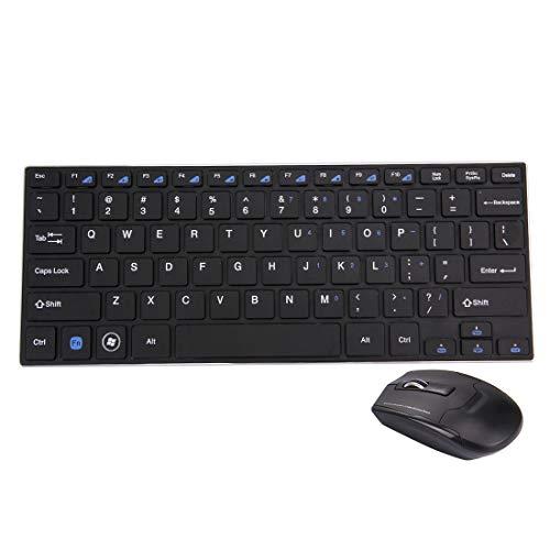 ESports HK3910 2,4 GHz Draadloze 78 Keys Metalen Ultrathin Toetsenbord met Toetsenbord Cover + Draadloze Optische Muis met Ingebouwde USB-ontvanger voor Computer PC Laptop(Zwart). (Kleur: zwart)