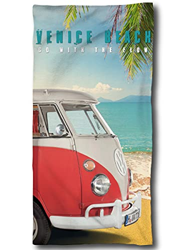 VW Bulli Handtuch 75x150 cm | VW Bulli Geschenke | VW Bus Badetuch Baumwolle | Camping Strandtuch Volkswagen T1 T2 T3 VW Merchandise