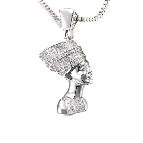 VANAXIN Nefertiti Egyptian Queen Pendant Necklace Gold Plated Punk Jewelry Women Men Necklaces 24''
