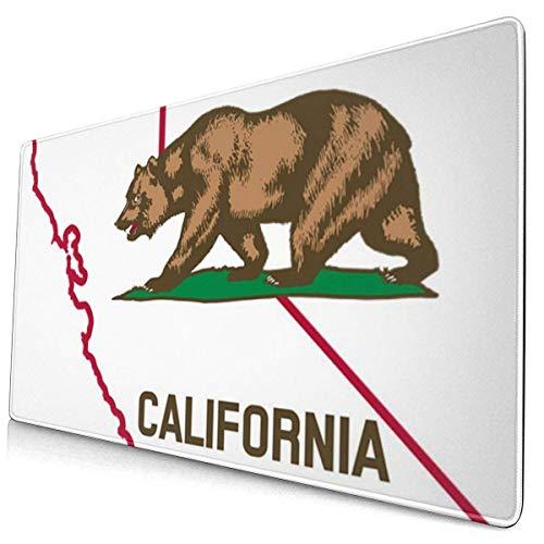 Kalifornien Karte und Flagge multifunktionale Büro Schreibtisch Pad, Gaming große Tastatur Mauspad mit genähten Kanten