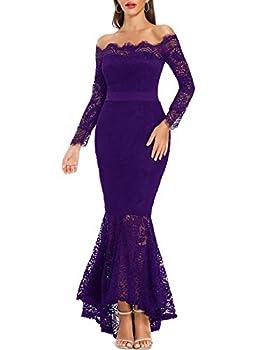 LALAGEN Women s Floral Lace Long Sleeve Off Shoulder Wedding Mermaid Dress Purple XXL