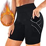 Rolewpy Sauna Sweat Shorts for Women Weight Loss Workout Pants Neoprene with Pocket Sport Capris (Black, M)