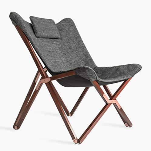 Silla Plegable de Camping Lounge Chair Diseño Moderno Retro Sillas Klappgartenliege Cojines TV-Liege con Alto Respaldo con Holzrahmen Sustancia para balcón