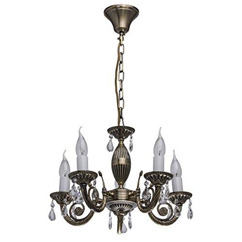 MW-Light 371012405 Lampadario da Soffitto Anticato Metallo Colore Ottone Gocce Cristallo Trasparente Stile Classico 5 x 60W E14 Escl