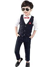 KINDOYO Niño Traje - Formal Conjunto para Bebé 3-8 Años Ropa Niño Gentleman Chalecos Pantalones Traje de Bautizo Fiesta Boda Ceremonia