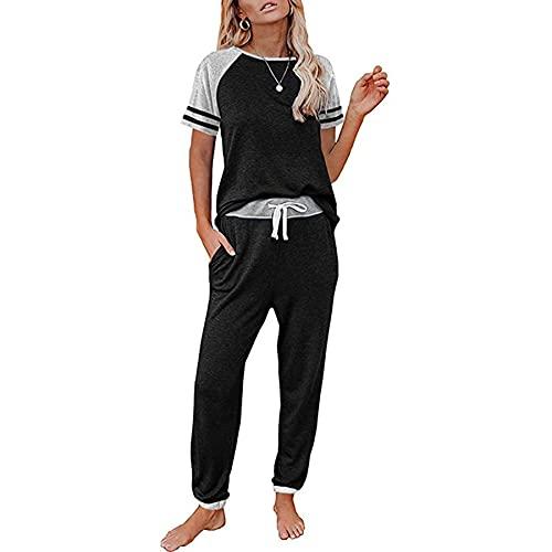 WXDSNH Completo da Donna in Due Pezzi Pantaloni Sportivi Casual a Maniche Corte con Tasche a Righe a Contrasto Primavera Estate Home Yoga Fitness