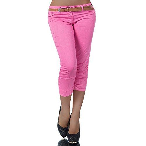 H968 Damen Chino Hose Stoffhose Capri Bermuda Sommerhose Boyfriend Shorts Gürtel, Farben:Pink;Größen:36 (S)