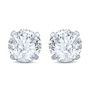 14k White Gold Diamond Stud Earring (1/2 cttw, I-J Color, I2 Clarity)