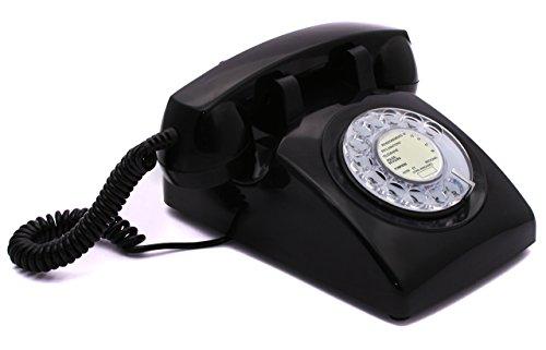 OPIS 60s Cable avec étiquette PTT française Classique: téléphone rétro/téléphone Fixe Vintage/téléphone Design rétro/téléphone Fixe Filaire/Vieux téléphone avec Cadran Rotatif (Noir)