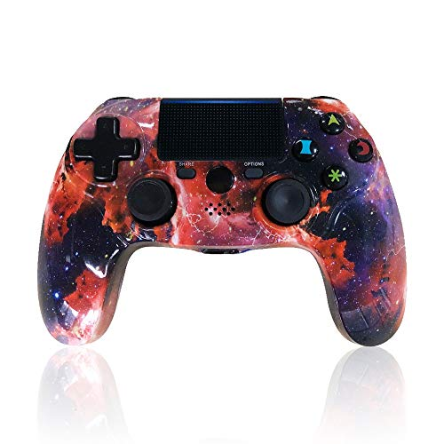 CHENGDAO PS4 Controller Wireless Galaxy Style Gamepad for Playstation 4/Pro/Slim/PC with Motion Motors and Audio Function, Mini LED Indicator, USB Cable and Anti-Slip
