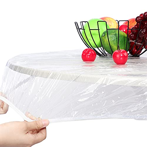 Round Vinyl Fitted Tablecloth Vinyl Elastic Tablecloth Plastic Tablecloth Protector Waterproof Fitted Oilcloth for Round Table Large Round Fits Table (Transparent, 29-36 Inch)