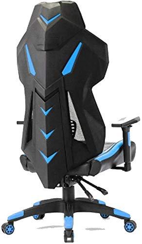 CEyyPD Silla de Oficina de Juego Ajustable Respaldo Alto Silla de Juego de Ordenador ergonómico Giratorio competitiva Azul Juego