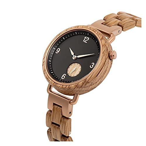 yuyan Reloj de Madera para Mujeres, Reloj de Movimiento de Cuarzo analógico Minimalista japonés, Hecho a Mano por Pura Madera Natural de Cebra, Mujeres.
