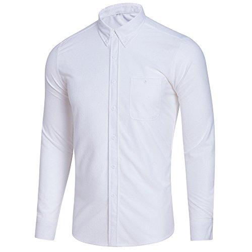 DNOQN Herren Hemden Langarm Achselshirt Herren Freizeit Langarm Übergröße Solide Button Shirt Top Bluse 2XL