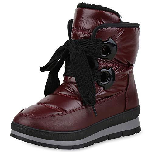 SCARPE VITA Damen Stiefeletten Winter Boots Warm Gefütterte Outdoor Schuhe 171165 Dunkelrot 40